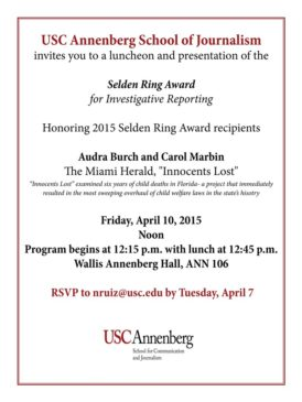 Selden Ring Award – Extended Invite to Press Club Members